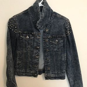 Jackets & Blazers - Dark Denim jacket with studs on shoulders